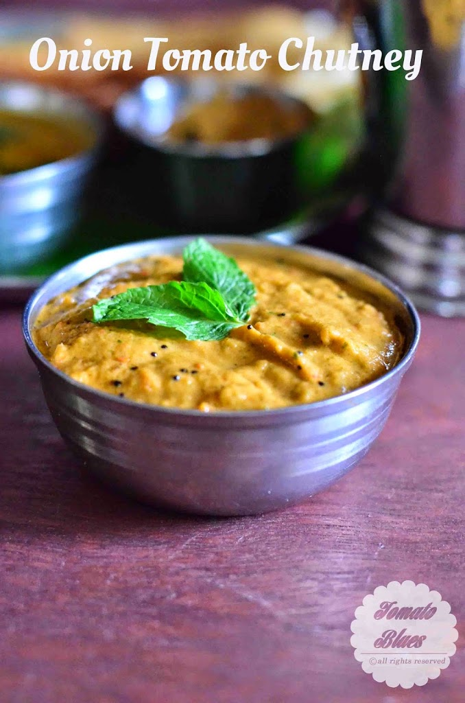 easy south indian onion tomato chutney served in a steel bowl