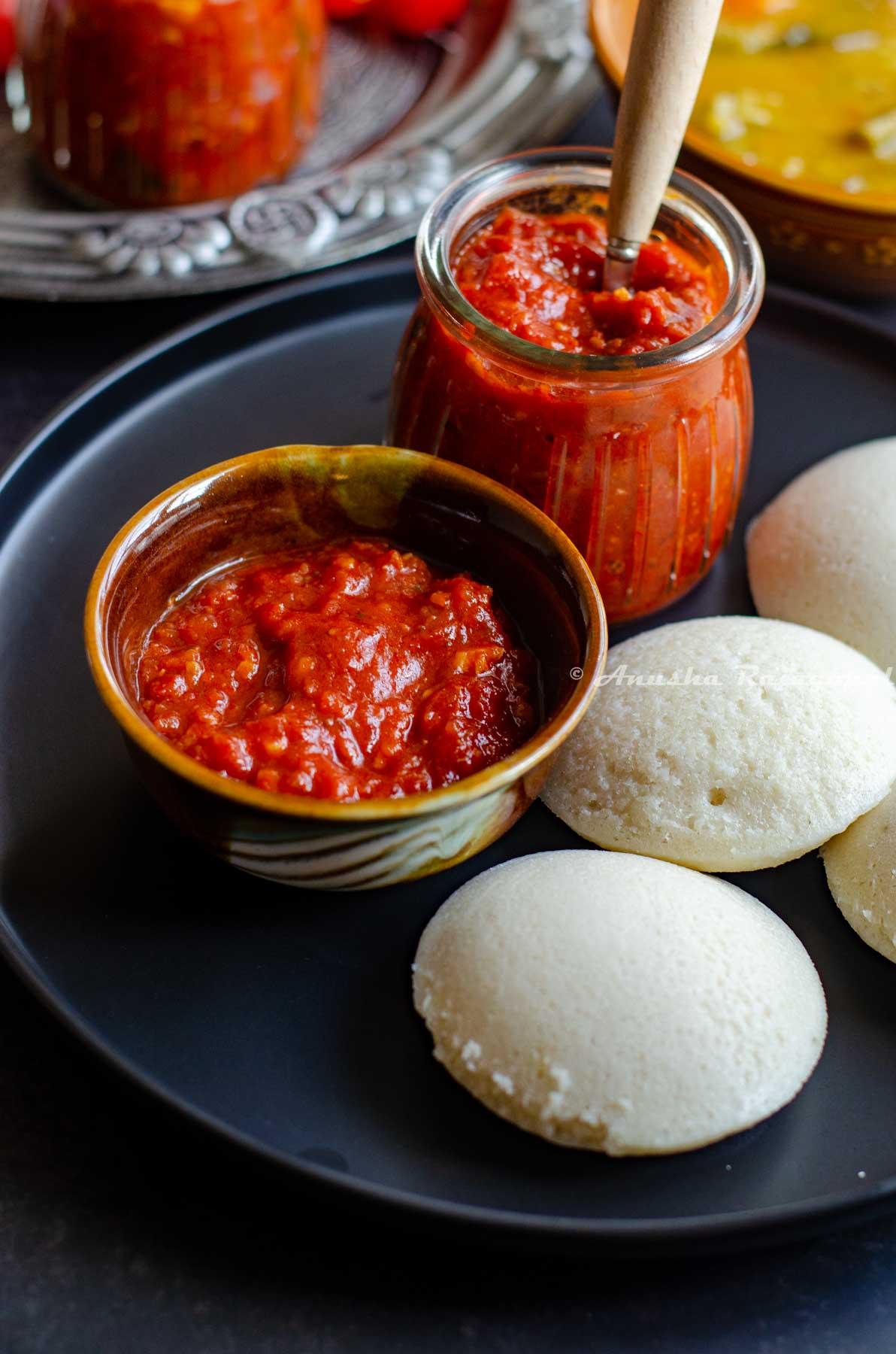 South Indian thakkali thokku- a tangy tomato relish served with soft idli