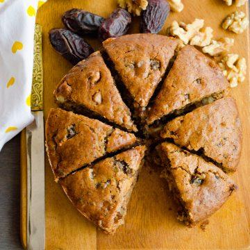 eggless dates and walnut cake
