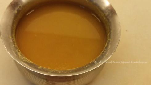 soaking tamarind and toor dal for sambar