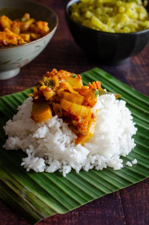 Mullangi Thokku; Radish masala served with rice on a plantain leaf