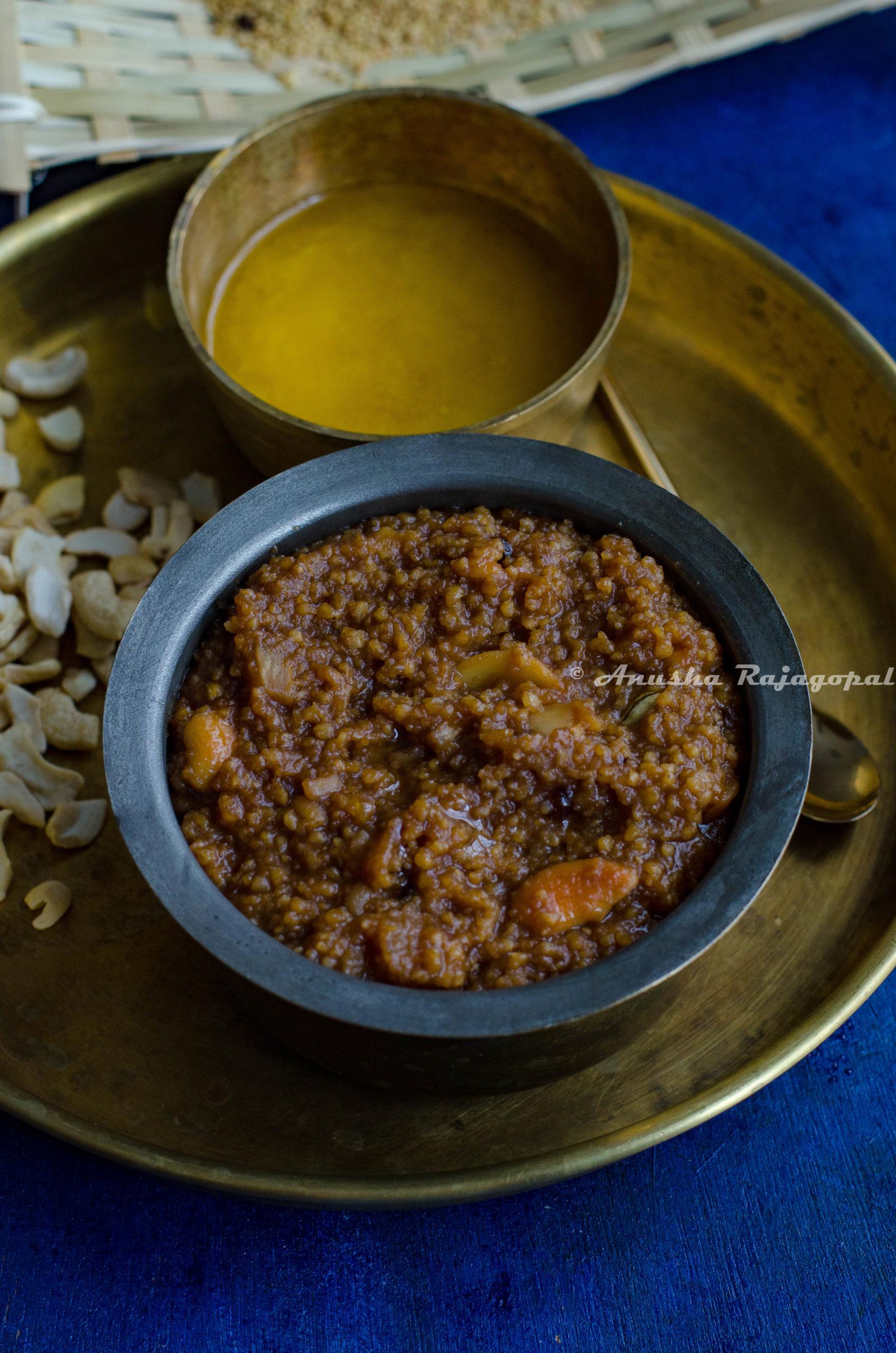 Thinai Sakkarai Pongal served in a brass bowl on a brass platter