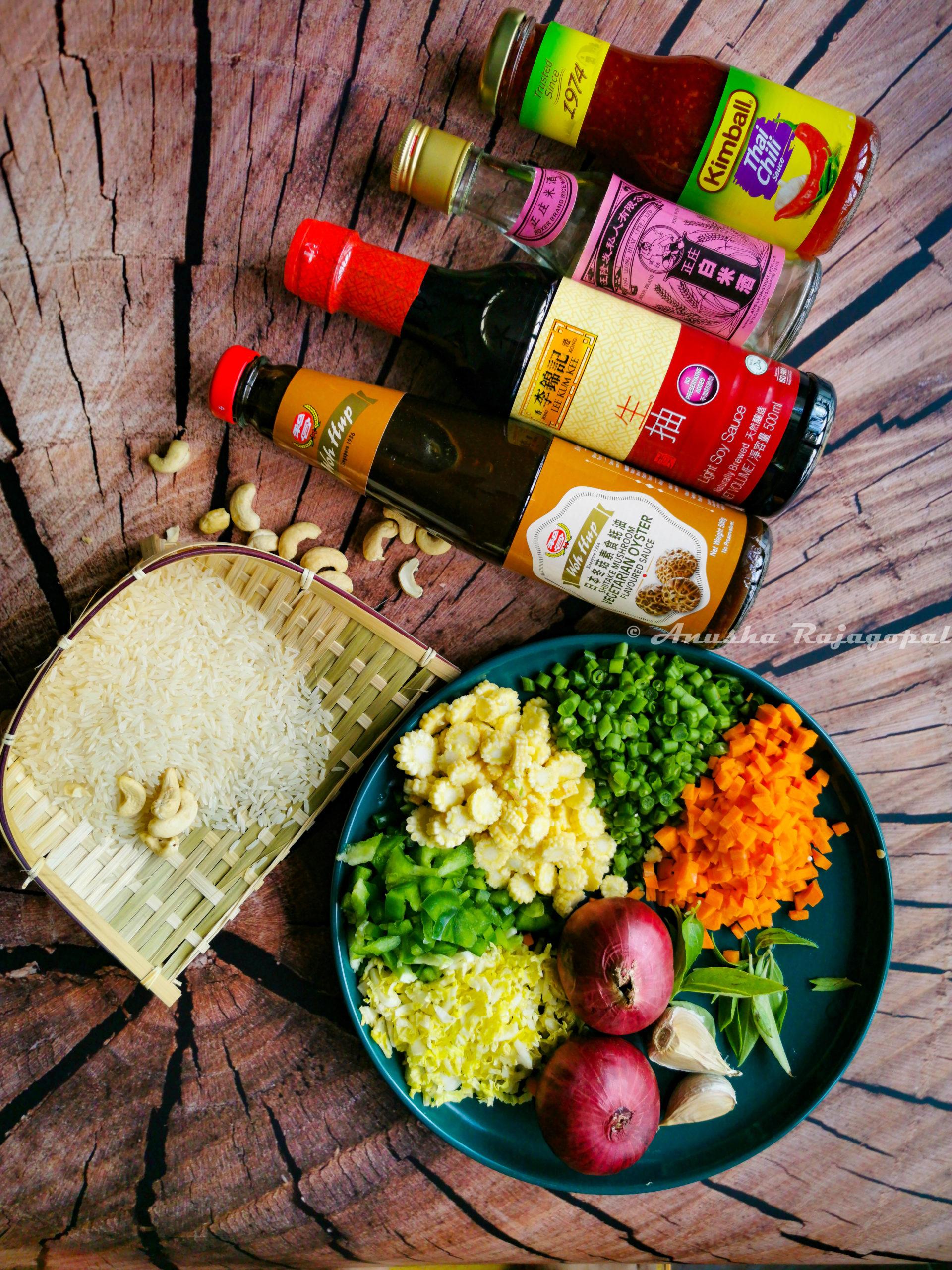 ingredients for thai basil veg fried rice