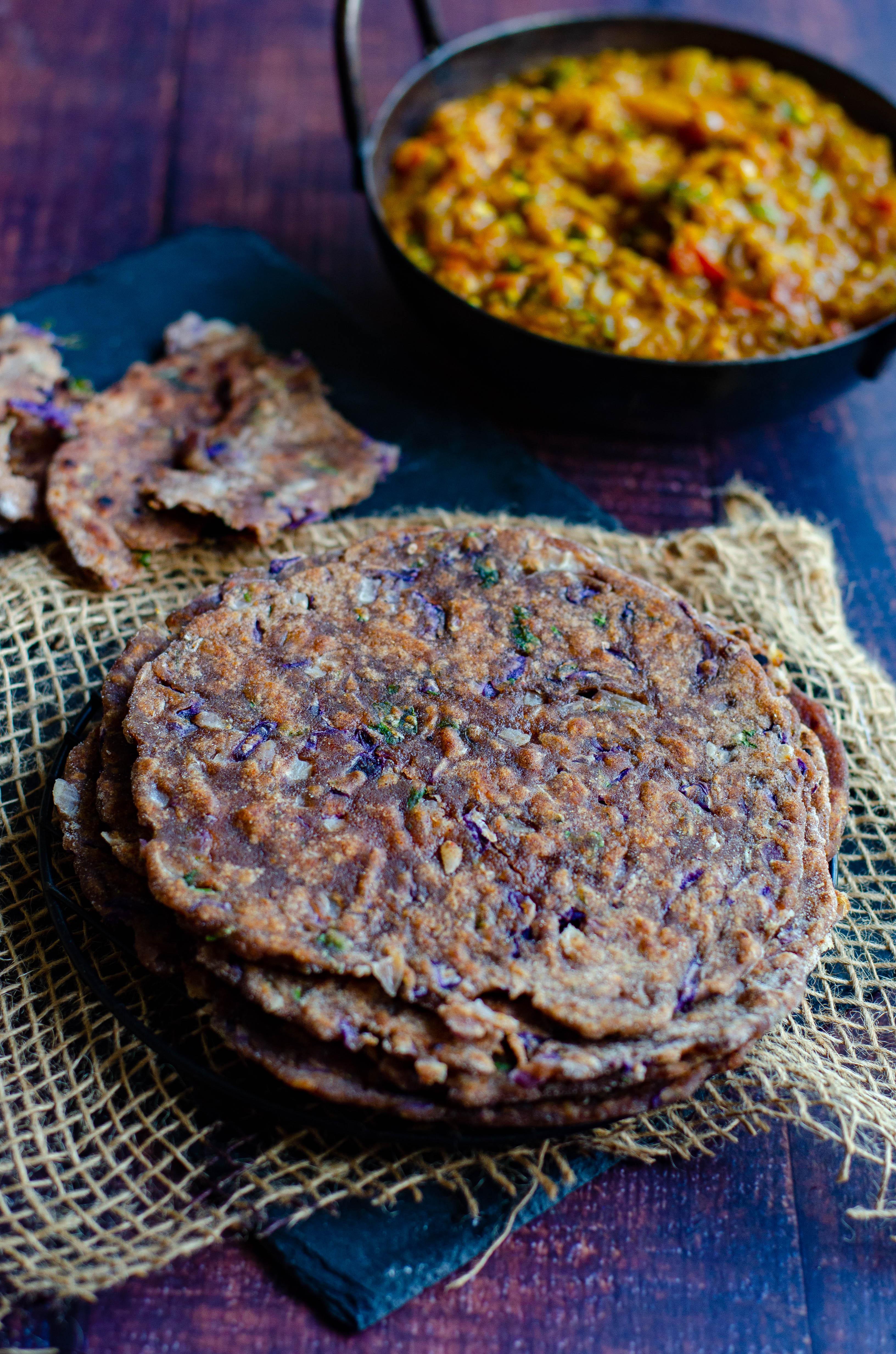 ragi wheat chapati with purple cabbage