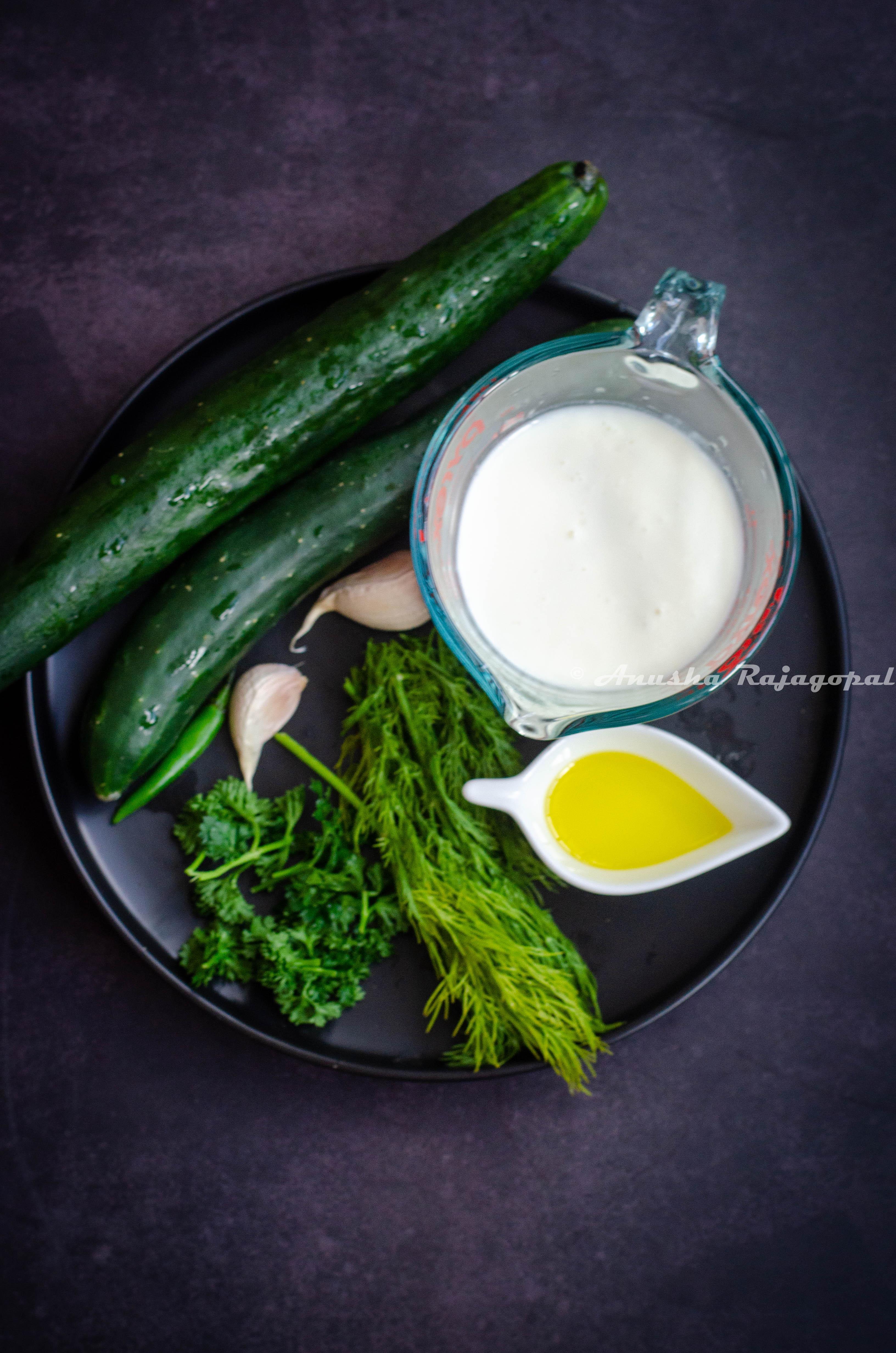 ingredient line up for cucumber gazpacho