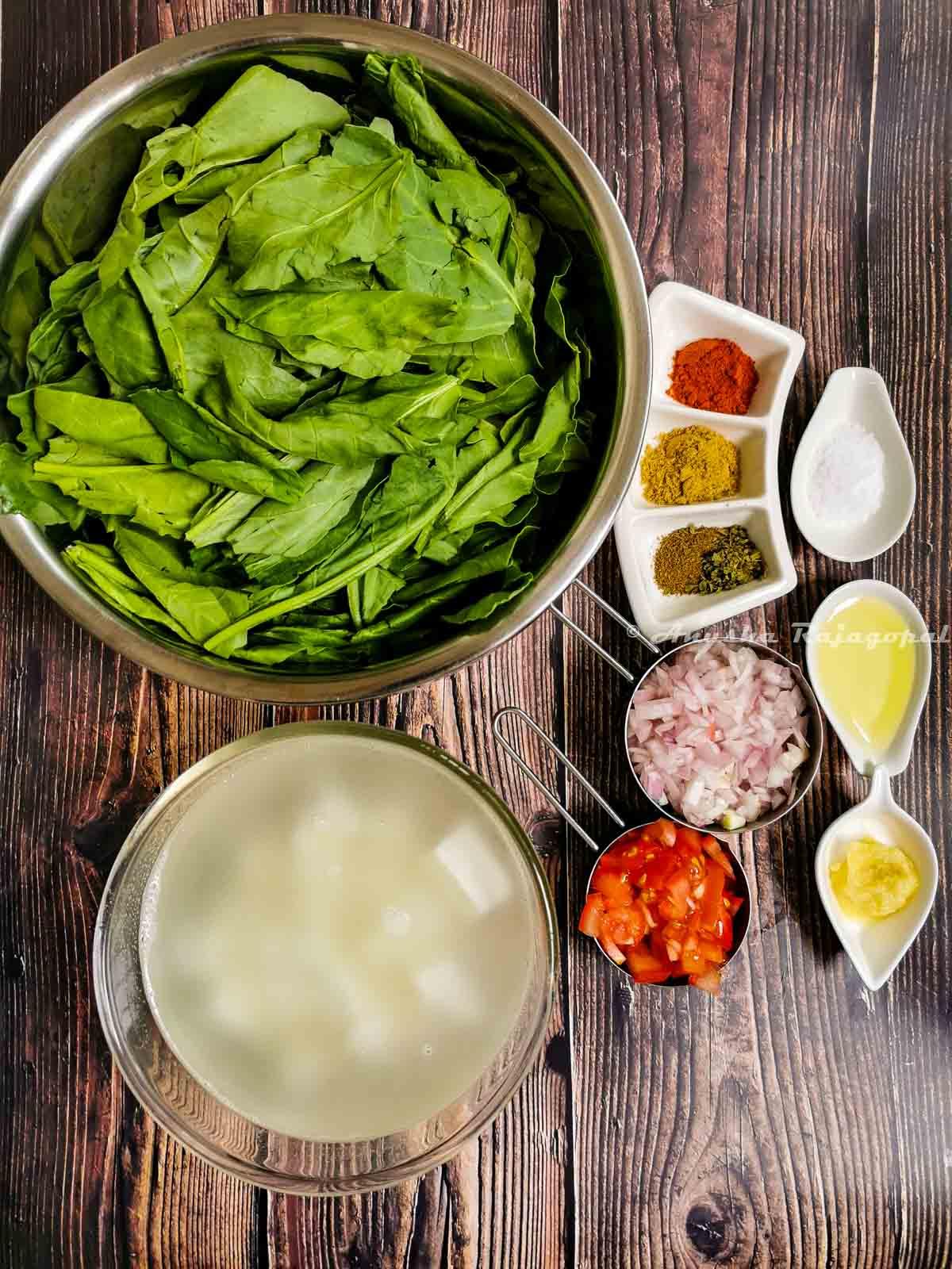 Instant pot palak paneer ingredients